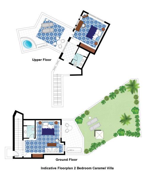 2 Bedroom Caramel Villa Floorplan