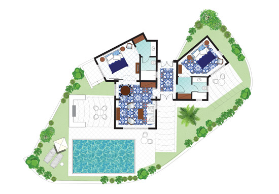 2 Bedroom Caramel Villa Private Pool Floorplan