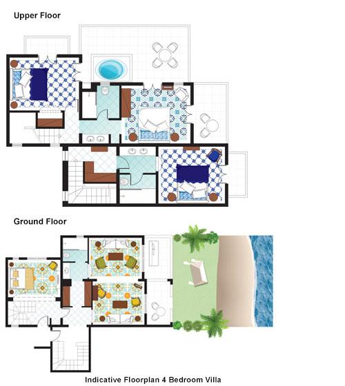 4-Bedroom Villa on the beach floorplan
