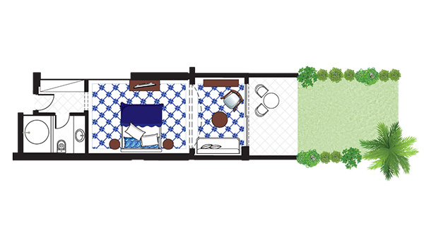 Open Plan Junior Suite Private Garden floorplan