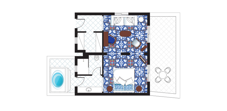 Open-Plan-Bungalow-Suite-with-Private-Outdoor-Hydromassage-Bathtub-Floorplan